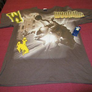 Mens Vtg Pro Edge UW Wyoming Cowboys T Shirt Sz L